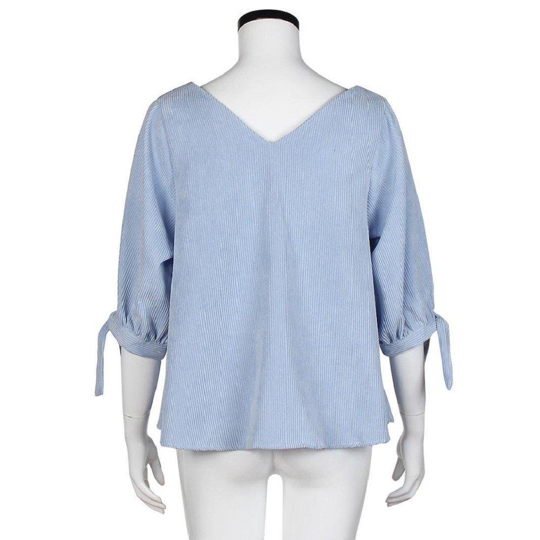 Tongshi Suelta de manga larga de la blusa ocasional de la camisa de las nuevas mujeres Tops camiseta de la moda (EU 34(Asia S), azul): Amazon.es: Ropa y ...