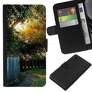 Ihec-Tech / Flip PU Cuero Cover Case para Sony Xperia Z2 D6502 D6503 D6543 L50t - Nature Beautiful Forrest Green 41