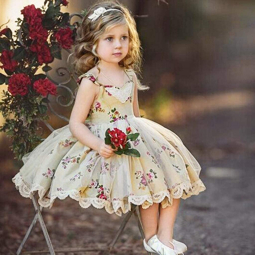 Toddler Kids Girl Flower Lace Tulle Princess Party Pageant Wedding Dresses