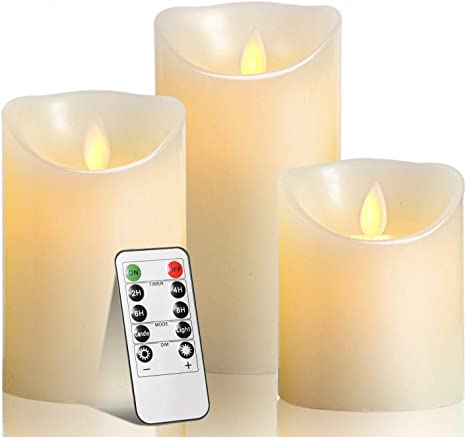 Battery Operated Flameless Candles Timer With Remote Set Of 6 Powered LED Candle