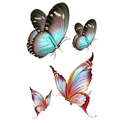 wyuen 5 hojas mariposa arte corporal temporal tatuaje Pegatina ...