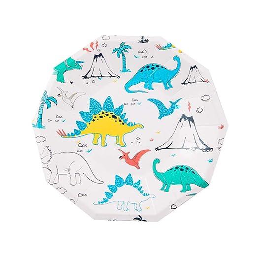 LAANCOO Dinosaurio Platos de Fiesta 8 Piezas Dibujos ...