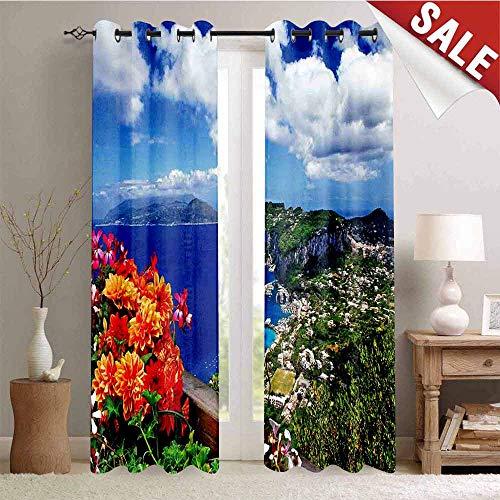 Hengshu Window Curtain Drape Scenic Capri Island Customized Curtains W96 x L108 Inch Italy Mountain Houses Flowers View from Balcony Landmark