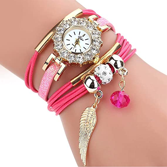 Amazon.com: Women Luxury Angel Wing Bracelet Quartz Bling Wristwatch Rhinestone Clock Ladies Dress Gift Watches ~ Reloj de Mujer de Moda (Pink/Rosado): Cell ...