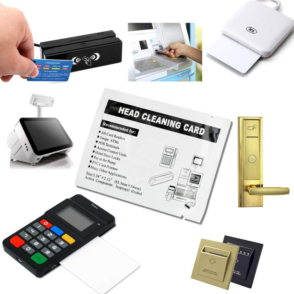 30 Pack Swipe Head Cleaning Cards for Magnetic Stripe Credit Card Readers, Writer Encoder Head, POS Swipe Card Reader Terminal by Ansoon (Image #1)