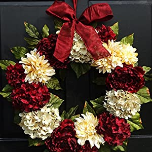 Large Valentines Day Christmas Holiday Wreath for Front Door Decor; Artificial Hydrangea, Dahlia and Peony Mix; Burgundy Red and Cream; 24 Inch 52