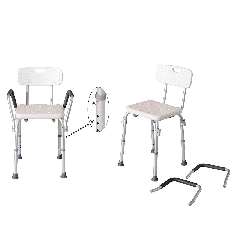 GHP 18'' L×21.3'' W×28.5''-33.5'' H White Multi-functional Bathroom Medical Aid Armed Chair