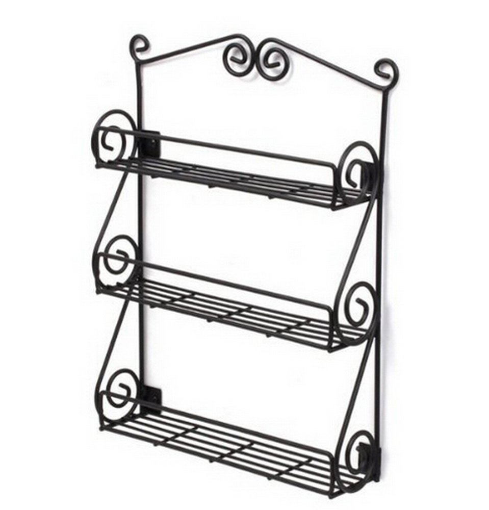 Dazone® Multipurpose Wall mount Metal Nail Polish Rack 3-Tiers Scroll Spice Wall Rack Cosmetic Organizer & Kitchen Storage Shelf Rack Black