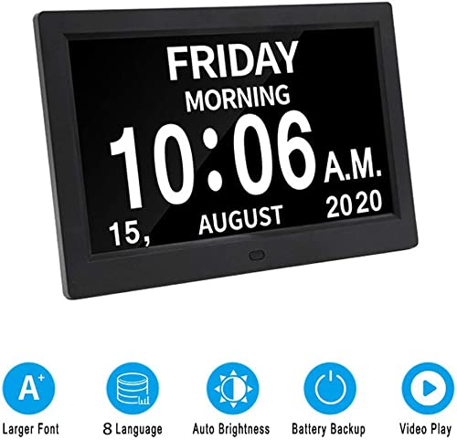 Digital Calendar Day Clock Photo Frame- Auto Dimmable Display 12 Alarm Options,Extra Large Impaired Vision Digital Clock with Non-Abbreviated Day Month Alarm Clock 9 Inch Black