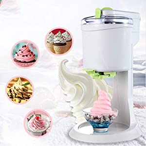 Gpzj Ice Cream Maker, Fully Automatic Mini Fruit Soft Serve Ice Cream Machine, Healthy, 1L High Capacity DIY Ice Cream Maker, Fast, Easy Clean Smooth, Suitable for Making A Variety of Ice Cream