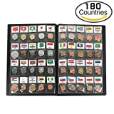 Classic Gifts 180 Countries Coins Collection Starter Kit Authentic Coins 100% Original Genuine World Coin with Leather Collecting Album Taged by Country Name And Flag