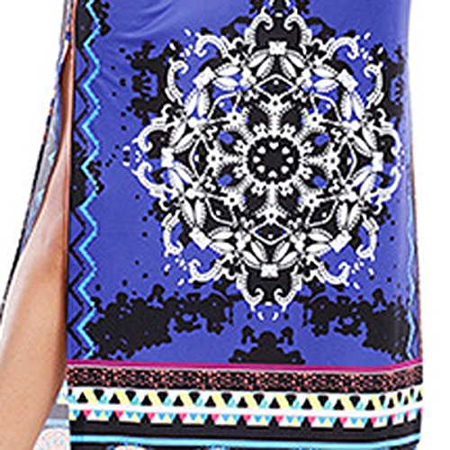 Verano Ropa De Mujer Del Tamaño Grande Elegante Suelto Atractivo Sencillo Vestido Blue