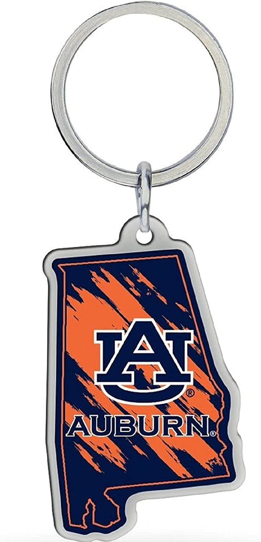 Auburn Keychain Home State Shape Premium Metal Decal Emblem University of