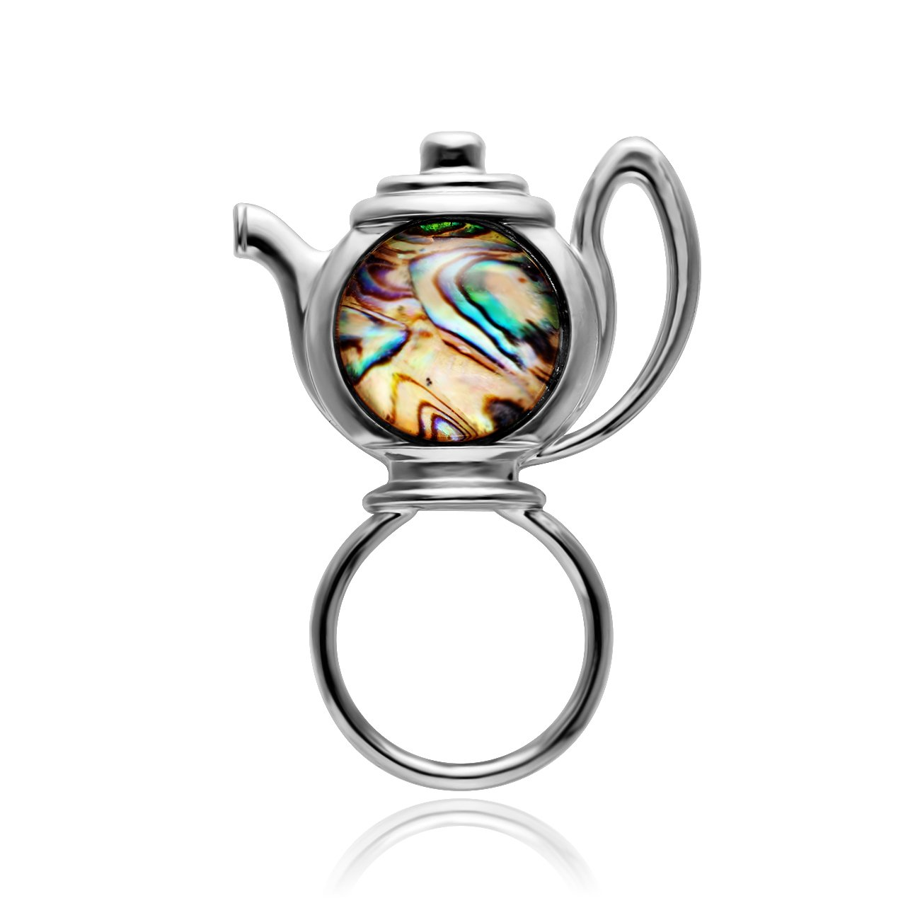 MANZHEN Transparent Glass Abalone Shell Teapot Magnetic Brooch Magnetic Badge Eyeglass Holder (Silver)