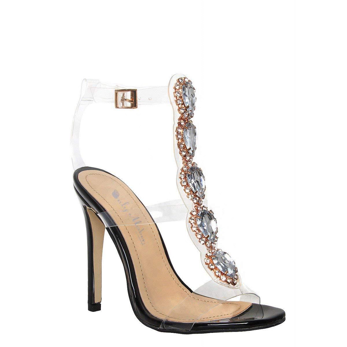 757bc99b400 onlymaker Womens Ankle Strap Block Sandals Gem Clear Stiletto High Heels  Gladiator Transparent Sandals with Rhinestones