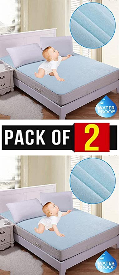 Star Bazaar18 Non Woven Waterproof Hypoallergenic Mattress Protector for King Size Bed (Blue, 72x78-inch) -Pack of 2