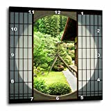 3dRose DPP_76381_3 Round Window, Zen Garden, Kyoto, Japan AS15 STE0102 Shin Terada Wall Clock, 15 by 15''
