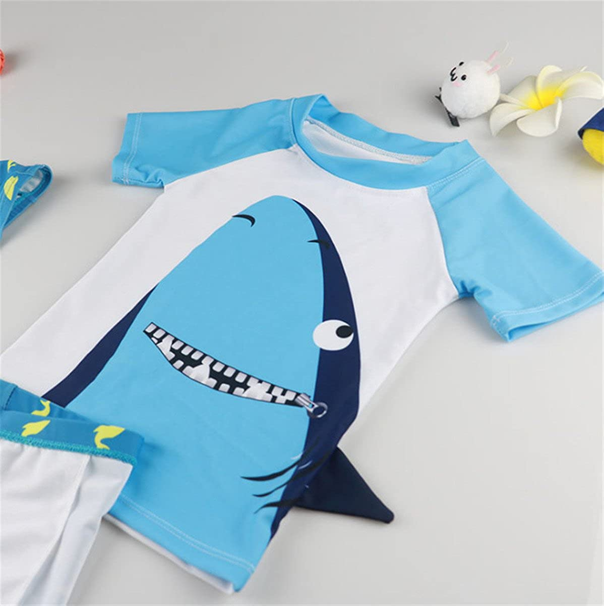 UV Swimsuit with Caps klstD051 REWANGOING Baby Kids Boys Two Pieces Cartoon Print Short Sleeve Swimwear Rash Guard UPF 50
