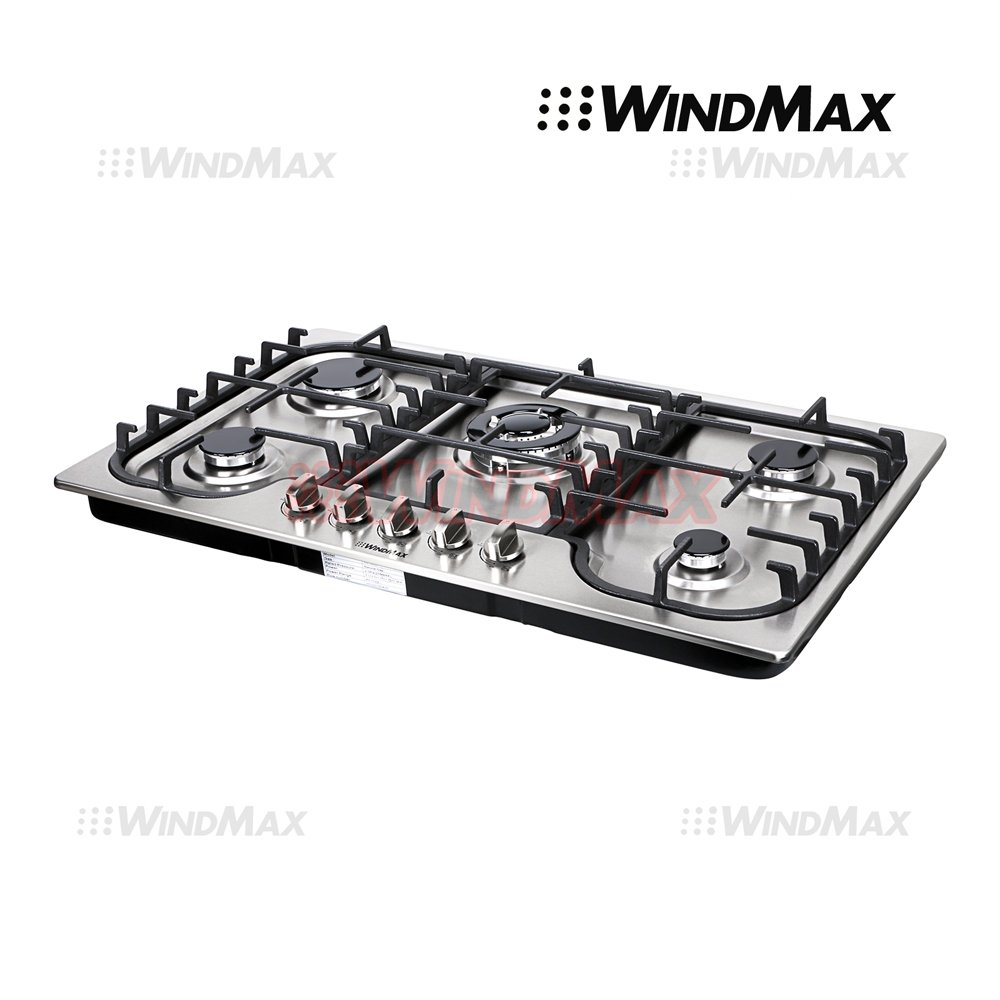 WindMax® 34'' Fashion Lines Stainless Steel 5 Burner Built-In Stoves Gas Cooktops Cooker by WindMax