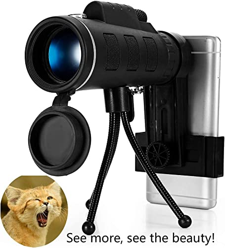 40X60 High Definition Monocular Telescope, Spotting Scope 2020 New Waterproof Anti-Fog Dual Focus with Smartphone Holder, Compass, Clip Tripod-Night Vision FMC BAK4 Prism for 1,800 Yards Observation