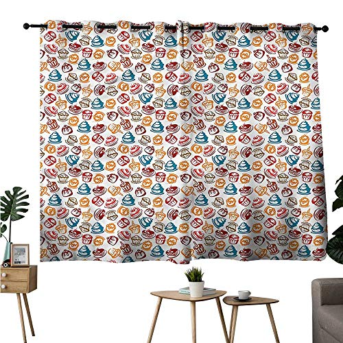 - Brandosn Room Darkening Curtains Grommets Curtain for Kids Room Culinary,Cupcakes Cakes Creams Two Panels W84 x L72