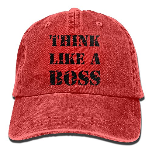 Men Women Think Like A Boss Denim Fabric Baseball Hat Adjustable Dad Hat