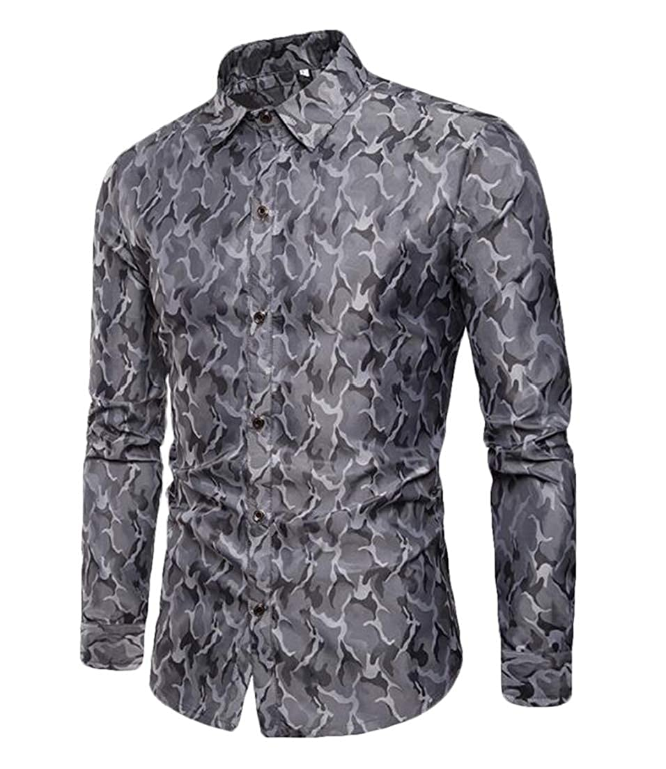 X-Future Men Camo Print Long Sleeve Lapel Fashion Designed Club Dress Work Shirt