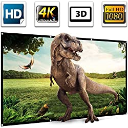 "120"" Projector Screen,120 inch Projection Screen 16:9 HD 4K Ultra HDR 3D Ready 1.3 Gain Foldable Anti-crease Home Theater Indoor Outdoor Portable Projector Movie Screen Support Double Sided Projection"