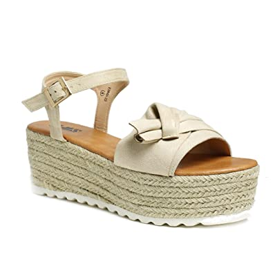 1c9e9b3c57b3 AMS Womens Wedge Platform Espadrille Sandals with Ankle Strap Nude 11