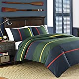 3pc Colorful Navy Blue Rugby Stripes Comforter Full Queen Set, Percale Cotton, Green Red Stripes Bedding Nautical Themed Coastal Classic Yellow Line Pattern Horizontal Dorm College Sports Colors