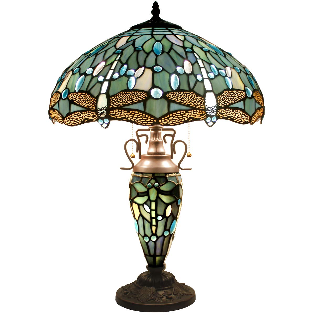 Tiffany Lamp 24 Inch Tall 3 Light Pull Chain Sea Blue Stained Glass Dragonfly Style Lampshade Beside Desk Table Lamp Antique Night Light Base for Living Room Coffee Table Bedroom S147 WERFACTORY