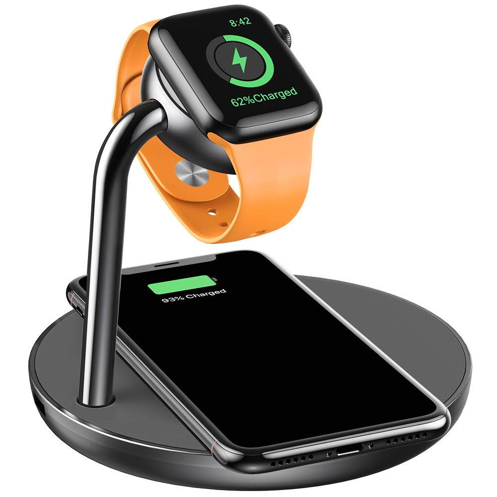 amBand Charger Stand Compatible with Apple Watch, 2 in 1 Wireless Charging Dock Station for iPhone and Apple Watch Series 4 3 2 1 38mm 40mm 42mm 44mm (Space Gray) by amBand