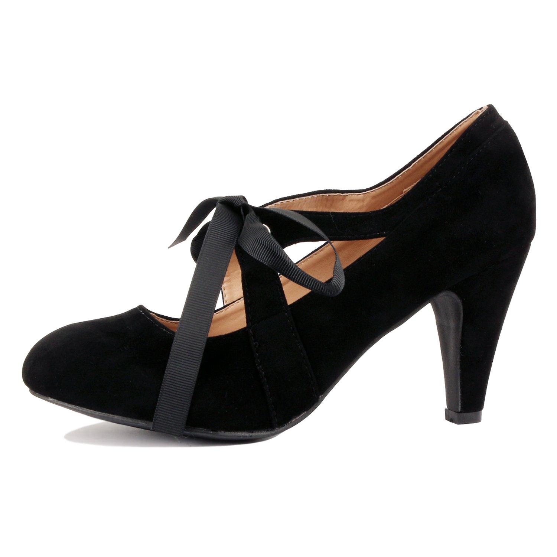 Guilty Heart Womens Vintage Retro Mary Jane Kitten Mid Heel Pump Pumps Pumps, Black Suede, 8 B(M) US
