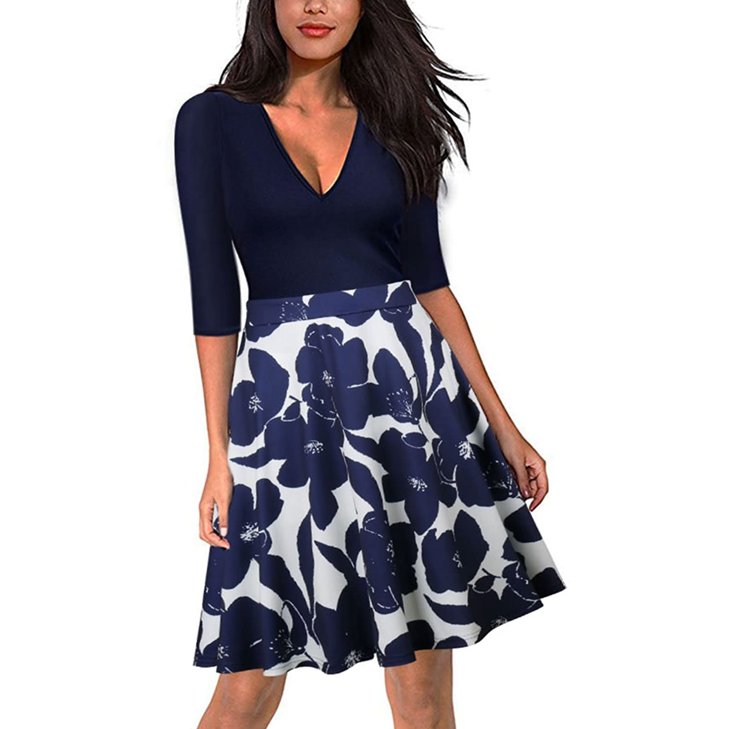 NaturalArt Womens Floral Patchwork Swing 1/2 Sleeve Casual Party Dress at Amazon Womens Clothing store:
