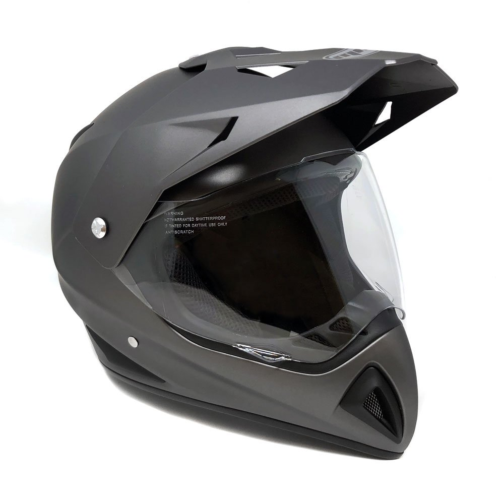 Motocross Full Face Helmet - Dual Sport Off Road Motorcycle Dirt Bike ATV – with Flip Up Visor - 27V (X-Large - Matte Gray)