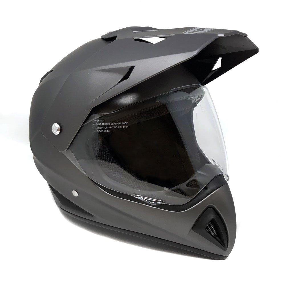 Motocross Full Face Helmet - Dual Sport Off Road Motorcycle Dirt Bike ATV – with Flip Up Visor - 27V (Medium - Matte Gray)