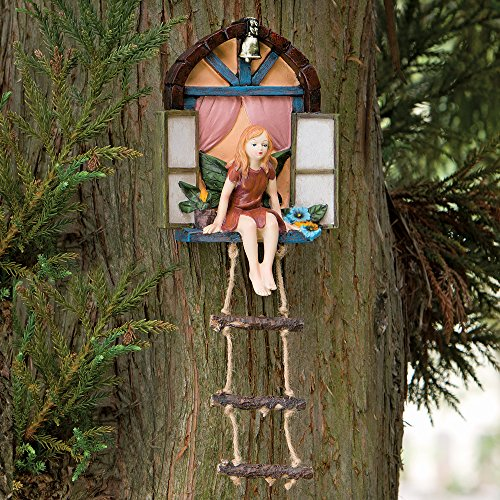 Bits and Pieces - Fairy House With Ladder Hanging Tree Sculpture - Outdoor Tree Statue - Whimsical Hand Painted Polyresin Garden Decoration Outdoor Tree Decoration