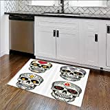 Soft Non Slip Absorbent Bath Rugs Skull and Blossoms Butterflies Christian Religious Celebrati Vacati Machine Washable Large Mats Materials W36''xH20''