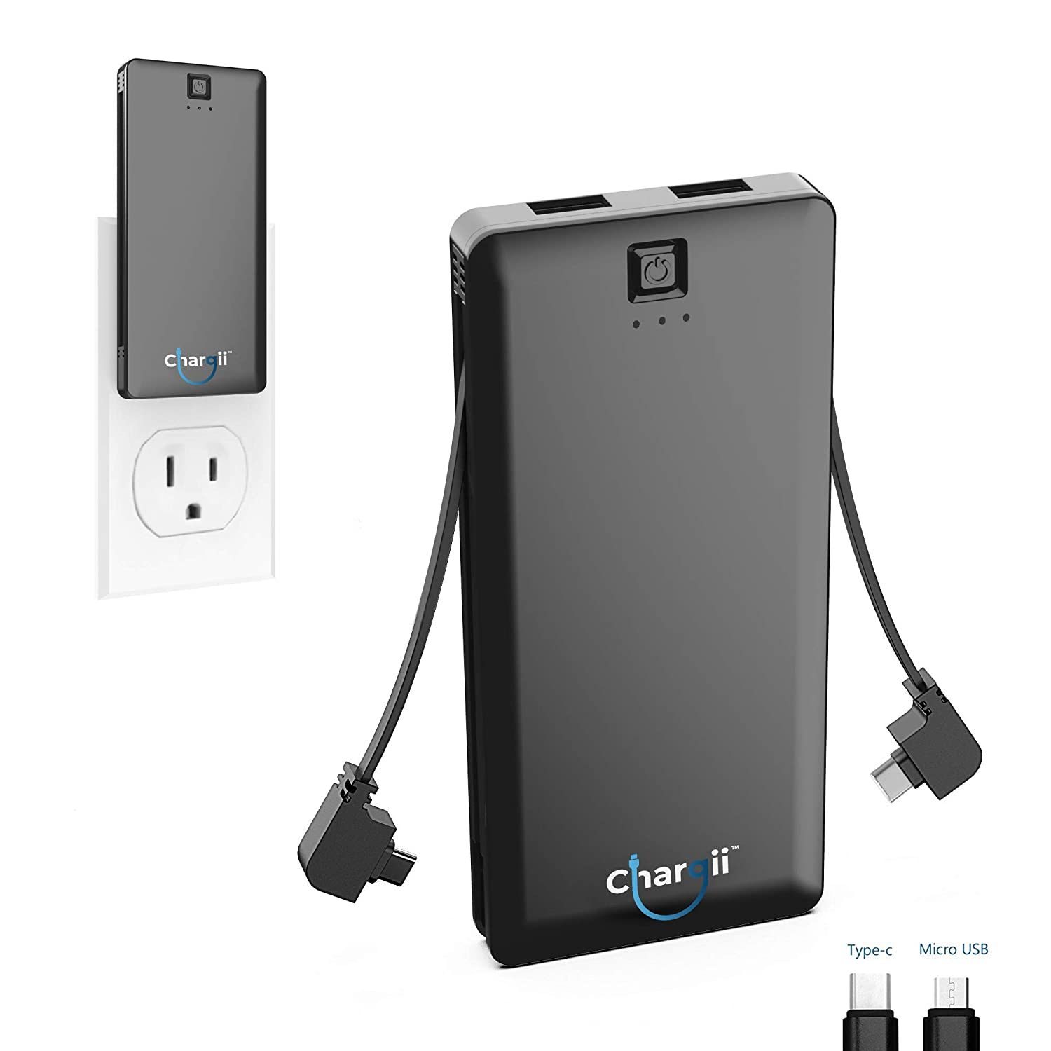 Chargii | Apple Power Bank | All-in-One Portable Charger | Cell Phone  Battery Backup | Built-in Wall Plug AC Adapter, Apple & Micro USB Cables |  2 USB