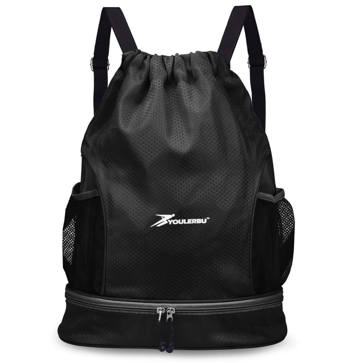 YOULERBU Gym Drawstring Bag, Sports Backpack with Shoe Compartment, Swim Bag with Wet Dry Compartments for Women Men (Black) by YOULERBU (Image #1)