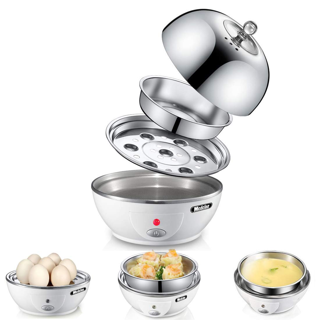 Medelon Egg Boiler, Egg Cooker, Ideal Soft and Hard Boiled Egg Cooker 7 Egg Capacity - with Removable Tray & Auto Shut Off Feature - White