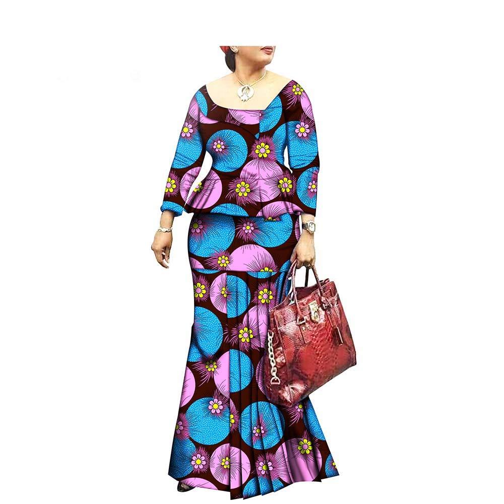 272x African Style 1Piece Long Maxi Dress for Lady Full Sleeve Pure Cotton Ankara Print Dashiki