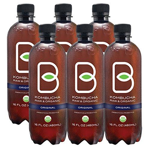Kombucha Raw Organic Tea, Only 2g of Sugar, Probiotics & Prebiotic, Kosher, Pack of 6 (B-tea Original Black Tea, 16 oz)