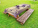 Ambesonne Moose Outdoor Tablecloth, Hipster Deer with Shade Sunglasses and Camera Vintage Ombre Design Funny Animal Art, Decorative Washable Picnic Table Cloth, 58 X 84 inches, Purple Beige