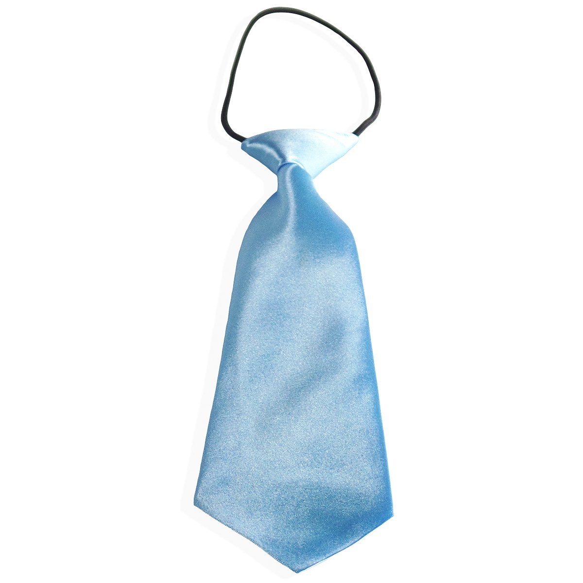Easy Slip On Solid Color Polyester Tie, 1 to 6 years 1 to 6 years (Baby Blue)