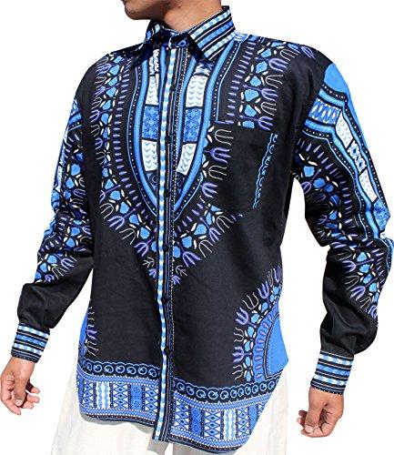RaanPahMuang African Dashiki Boubou Bright Fashion Work Shirt Light Cotton Plus, XX-Large, Blue Black by RaanPahMuang