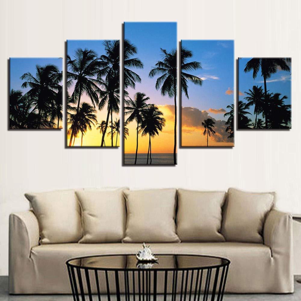 WJY Immagini per pareti 5 Pezzi Sunrise Break of Day Paesaggi Quadri su Tela Palme Poster Decorazioni per la casa 20x30cm-2p 20x40cm-2p 20x50cm-1p No Frame