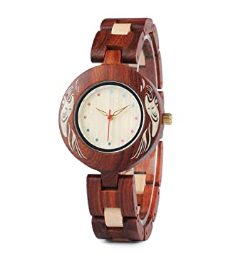 Relojes De Madera Hechos A Mano De Las Mujeres, Reloj De Madera Impermeable De Madera