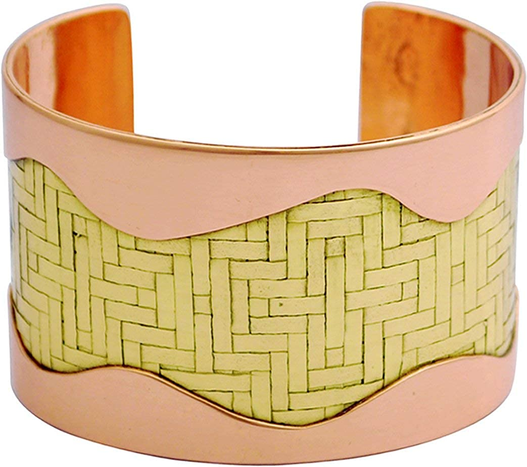 Tattersall Apogee - Handmade Rose copper cuff with hand woven Brass mat is placed between two soldered copper sheets which show through an abstract wavy cut out. Polished & PU coated Tarnish resistant