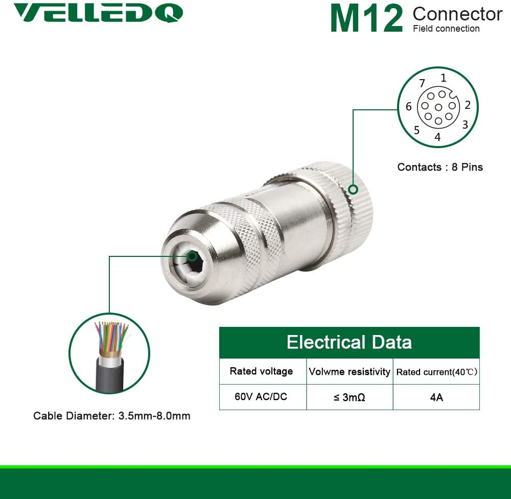 VELLEDQ Field Assembly M12 Connector 8-Pin A Coding FTP IP67 Waterproof Industrial Sensor Plug Adapter Female, 8 Contacts - Straight